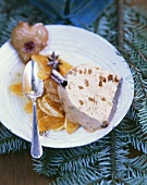 Gingerbread ice cream parfait with mandarin orange salad