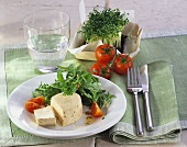 Tomato and basil mousse with herb salad
