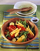 Mixed vegetable salad with rocket and Cheddar cheese