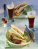 Cheese and roast beef sandwiches with caramelised shallots