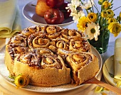 Rose cake with apple and nut filling