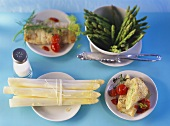 White and green asparagus with fish roulades