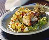 Chicken roulade on honeyed leeks with diced potatoes