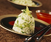 Timbale of sticky rice and spring onions