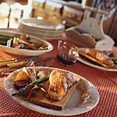 Smoked salmon served on maple platter