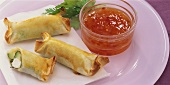 Spring rolls with courgette and sheep's cheese filling