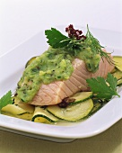 Steamed salmon fillet with courgette and herb puree