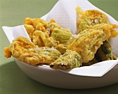Deep-fried courgette flowers in batter