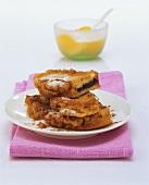 Zwetschgenpavesen (deep-fried jam sandwiches in batter)