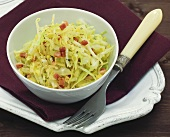 Cabbage salad with diced bacon