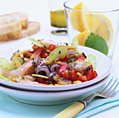Seafood salad with cuttlefish, shellfish and prawns