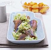 Matjes herrings with radish vinaigrette
