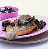 Charr fillet with grapes and tarragon