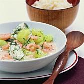 Fish, shrimp and cucumber ragout
