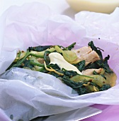 Trout fillets with spinach & cucumber in parchment paper