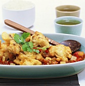 Sweet and sour fish in batter