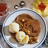 Rhineland sauerbraten (marinated beef) with mushrooms & napkin dumplings