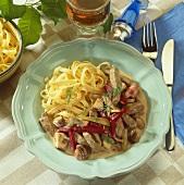 Boeuf Stroganoff with ribbon pasta