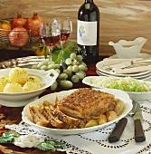 Roast pork with crackling, caraway, potato dumplings, cabbage salad