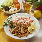Gyros with tomato rice and Greek salad (Greece)