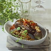 Aubergine with fruity pepper stuffing