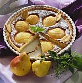 Pear and marzipan tart
