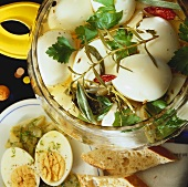 Spiced pickled eggs with mustard dip