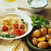 Potatoes and aubergine puree with sesame seeds