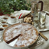 Almond cake and a few cups of espresso