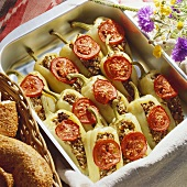 Stuffed yellow pointed peppers