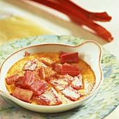 Rhubarb gratin in a small dish