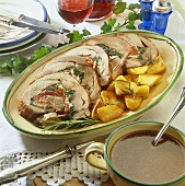 Roast stuffed turkey roll