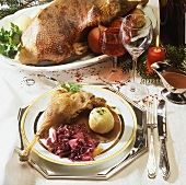 Roast goose with apple & red cabbage & dumplings for Christmas