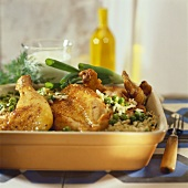 Braised chicken with rice and peas