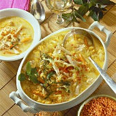 Creamy chicken soup with red lentils