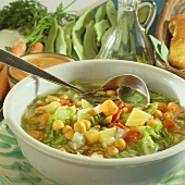 Mixed vegetable soup with chick-peas
