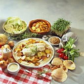 Pannfisch (Fish with mustard sauce & fried potatoes, N. Germany)