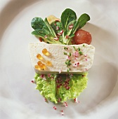 Sturgeon terrine on salad