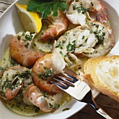 Gamberi alla trapanese (Prawns with herbs and garlic oil)