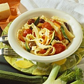 Ribbon pasta with Mediterranean vegetables