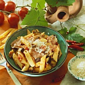 Penne all'arrabbiata with aubergines and ham