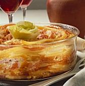 Macaroni bake in a glass dish