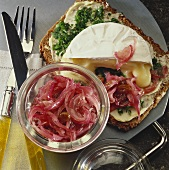 Wholemeal bread topped with Camembert and onion relish
