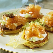 Blinis with ricotta and salmon tartare