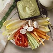 Vegetable sticks with avocado dip
