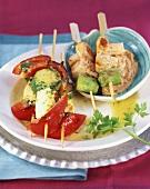 Halloumi & vegetables & tofu on peanut sauce (on cocktail sticks)