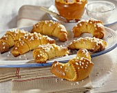 Jam-filled potato croissants