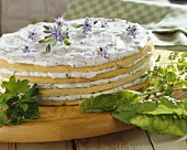 Layer cake with herb quark filling