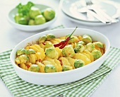 Brussels sprout and potato bake with chilli