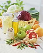 Verschiedene Lebensmittel für die Ernährung des Kapha-Typs